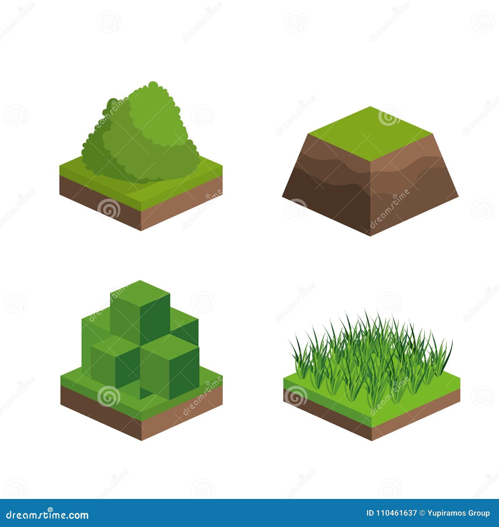 Isometrisk buss och gräsdesign