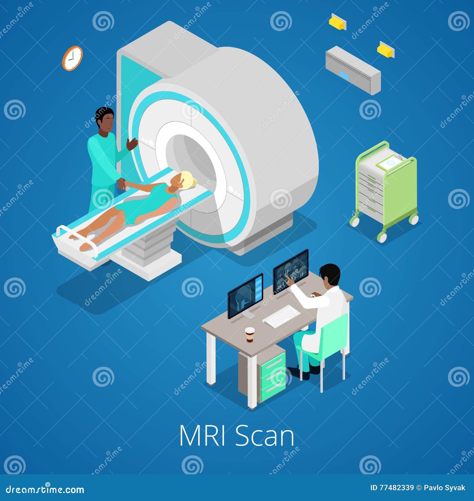Isometrisk för bildläsarkopiering för läkarundersökning MRI process med doktorn och patienten