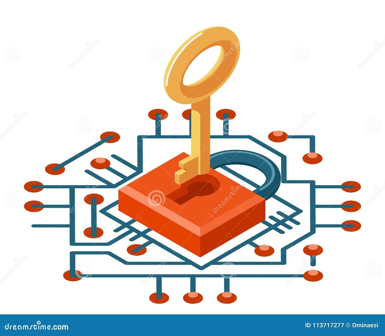Isometrisk för tangentsäkerhet för rengöringsduk 3d illustration för vektor för symbol för skydd för cyber för internet för tekno