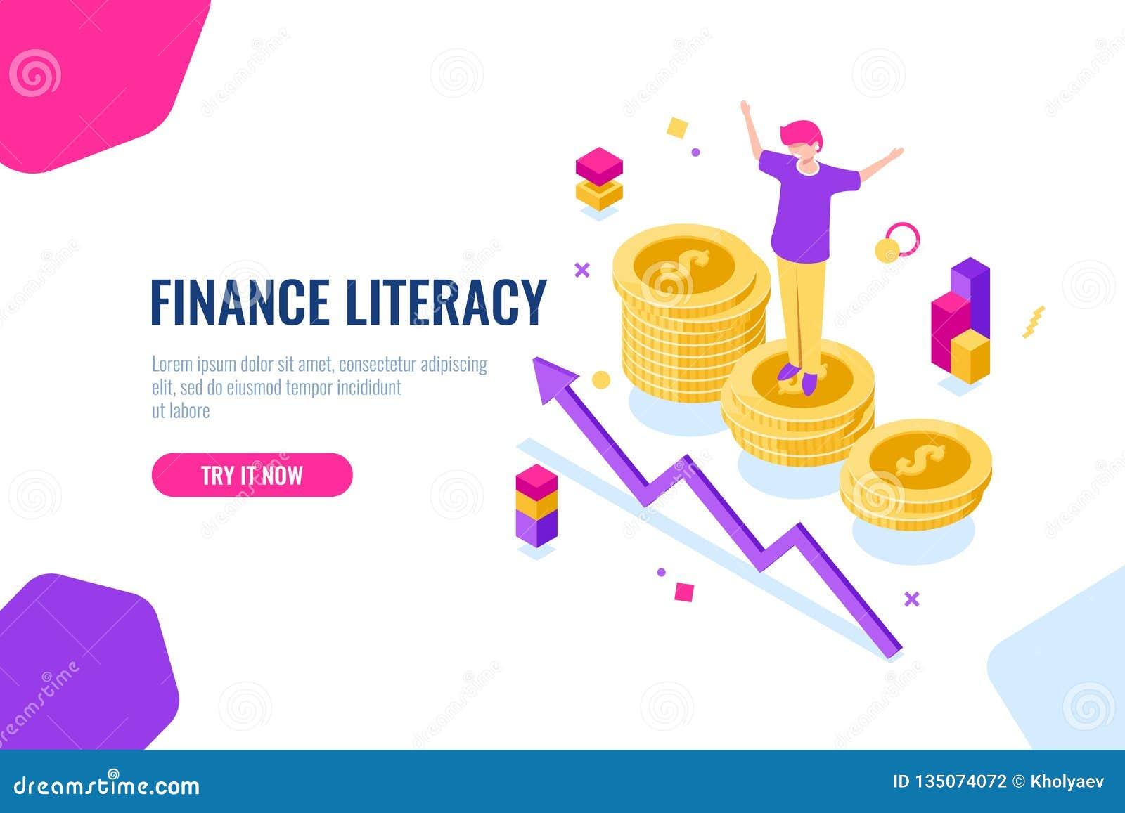Isometrisk finansiell läs-och skrivkunnighet, pengarredovisning, ekonomisk illustration med kvinnan, som står på podiet, national