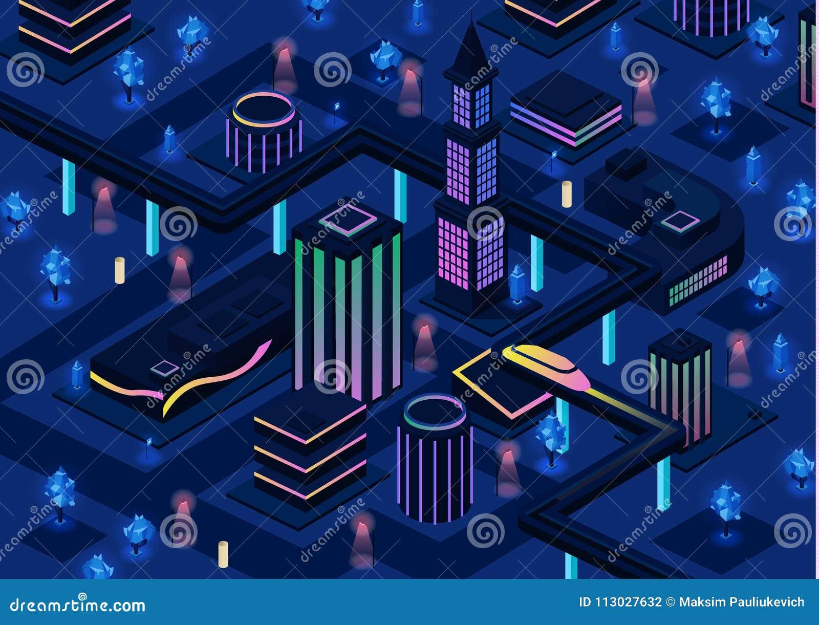 Isometrisk futuristisk stadsvektorillustration av smart stadsinfrastruktur för framtida natt 3d med belysningteknologi