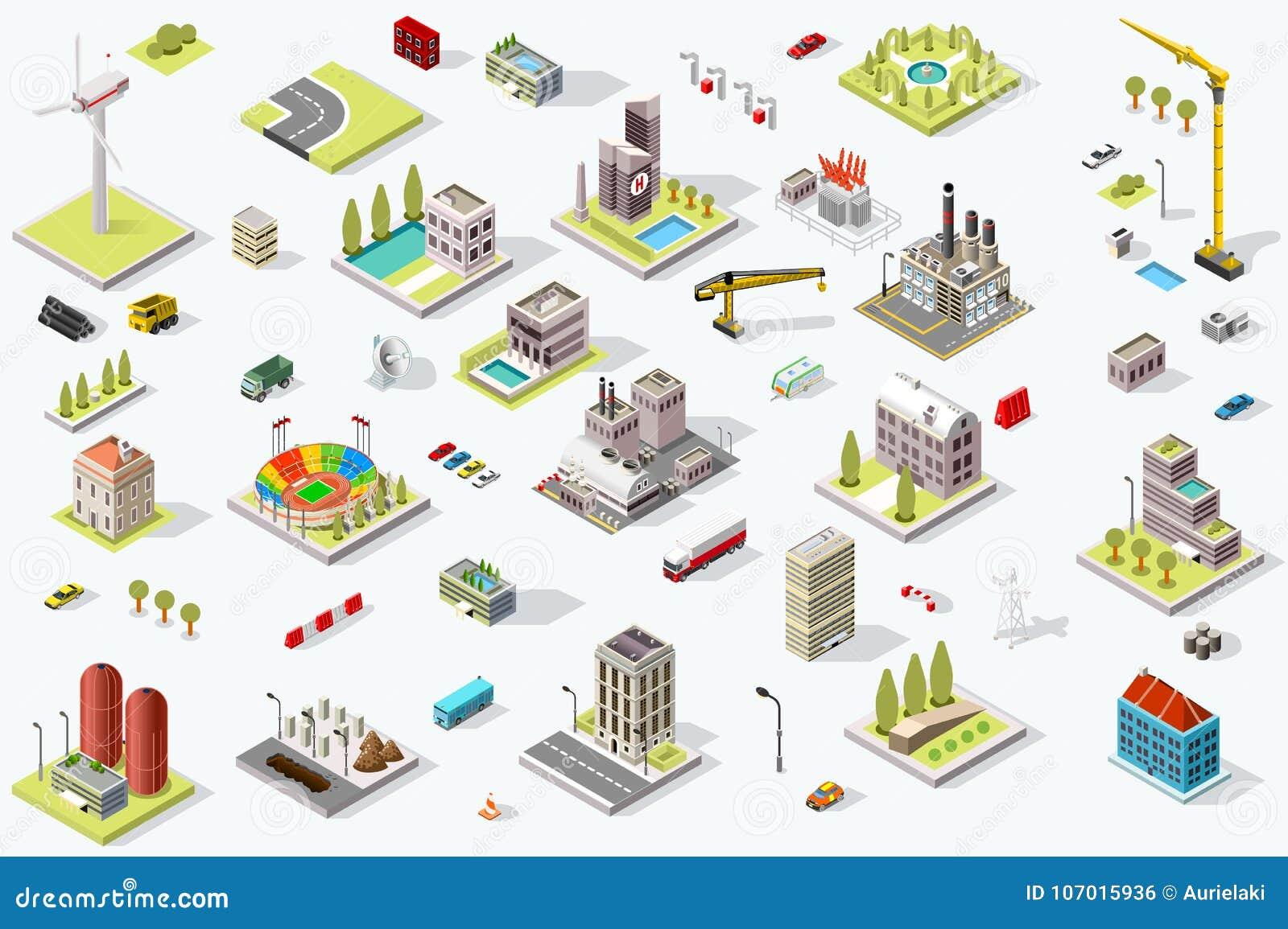 Isometrisk gränsmärke för stadsöversiktsuppsättning