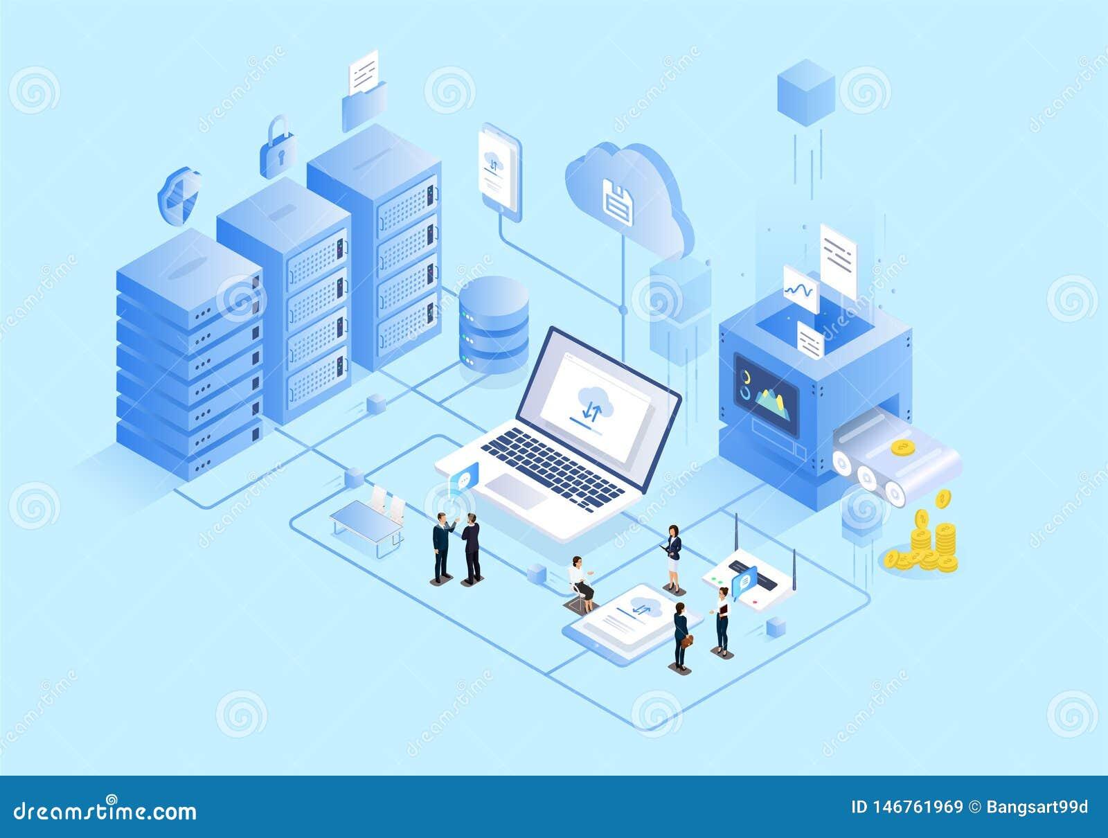 Isometrisk illustration av teamwork för affärskontor
