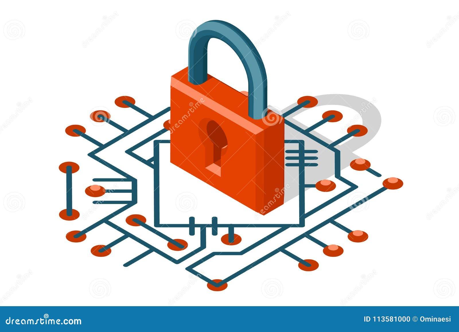 Isometrisk illustration för vektor för symbol för skydd 3d för cyber för internet för rengöringsduksäkerhetsteknologi digital