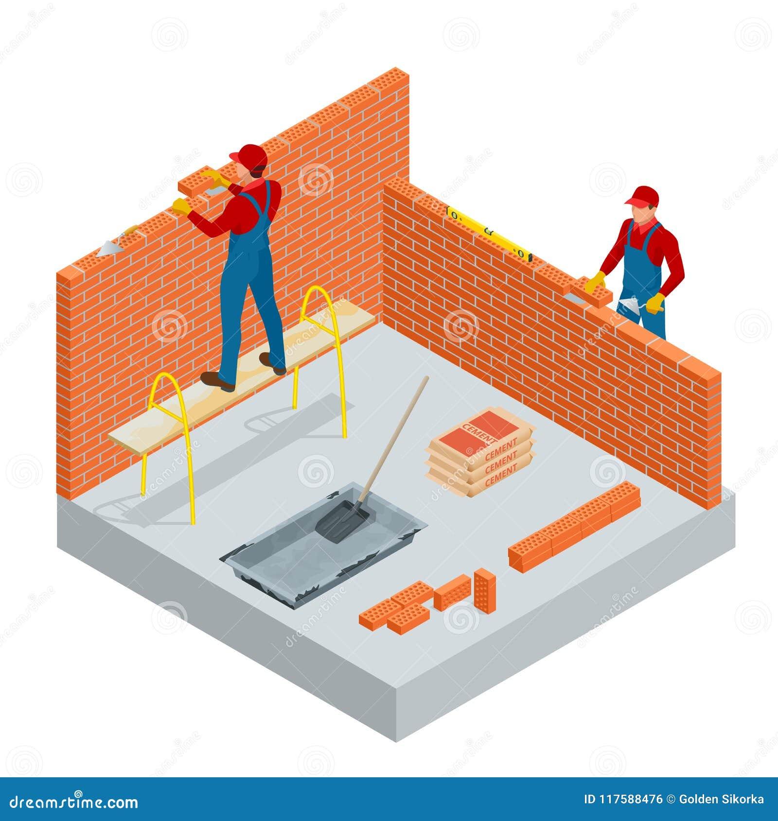 Isometrisk industriarbetare som bygger yttre väggar, genom att använda hammaren och nivån för att lägga tegelstenar i cement Kons