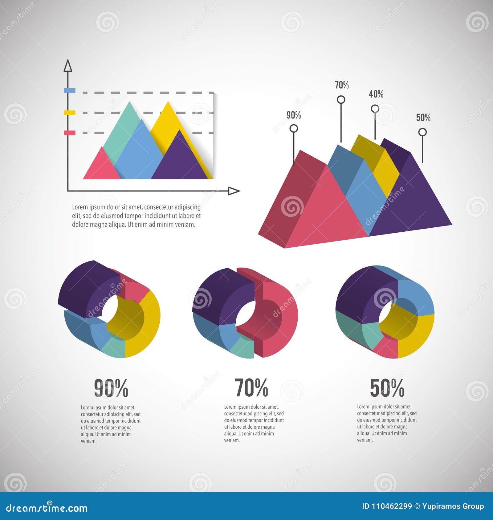 Isometrisk infographic information om affärsdiagram