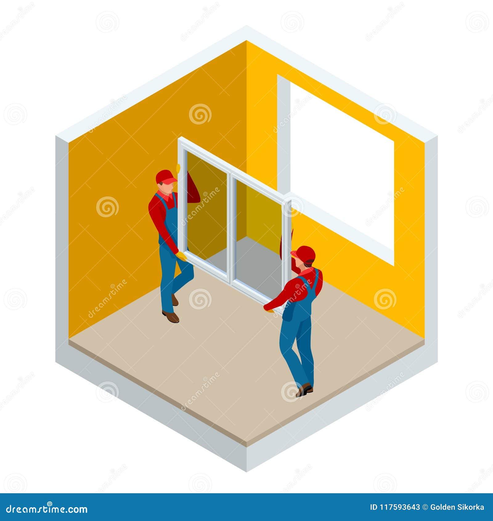 Isometrisk installation av fönster i hus- eller lägenhetbegreppet Två arbetare i blå arbetskläder ställde in ett nytt fönster