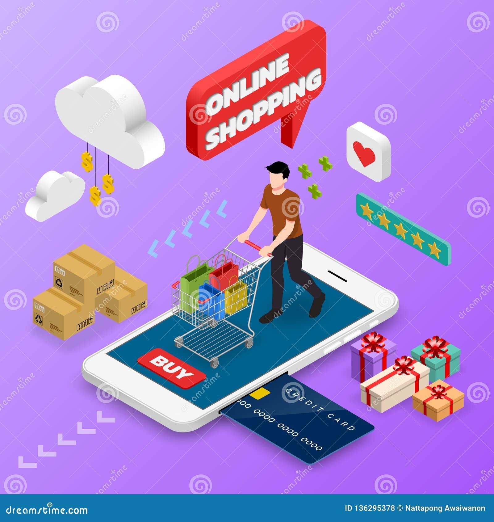 Isometrisk manshopping på den smarta telefonen kvinnlig person E-kommers för online-begrepp med shoppingvagnen, teknologilager