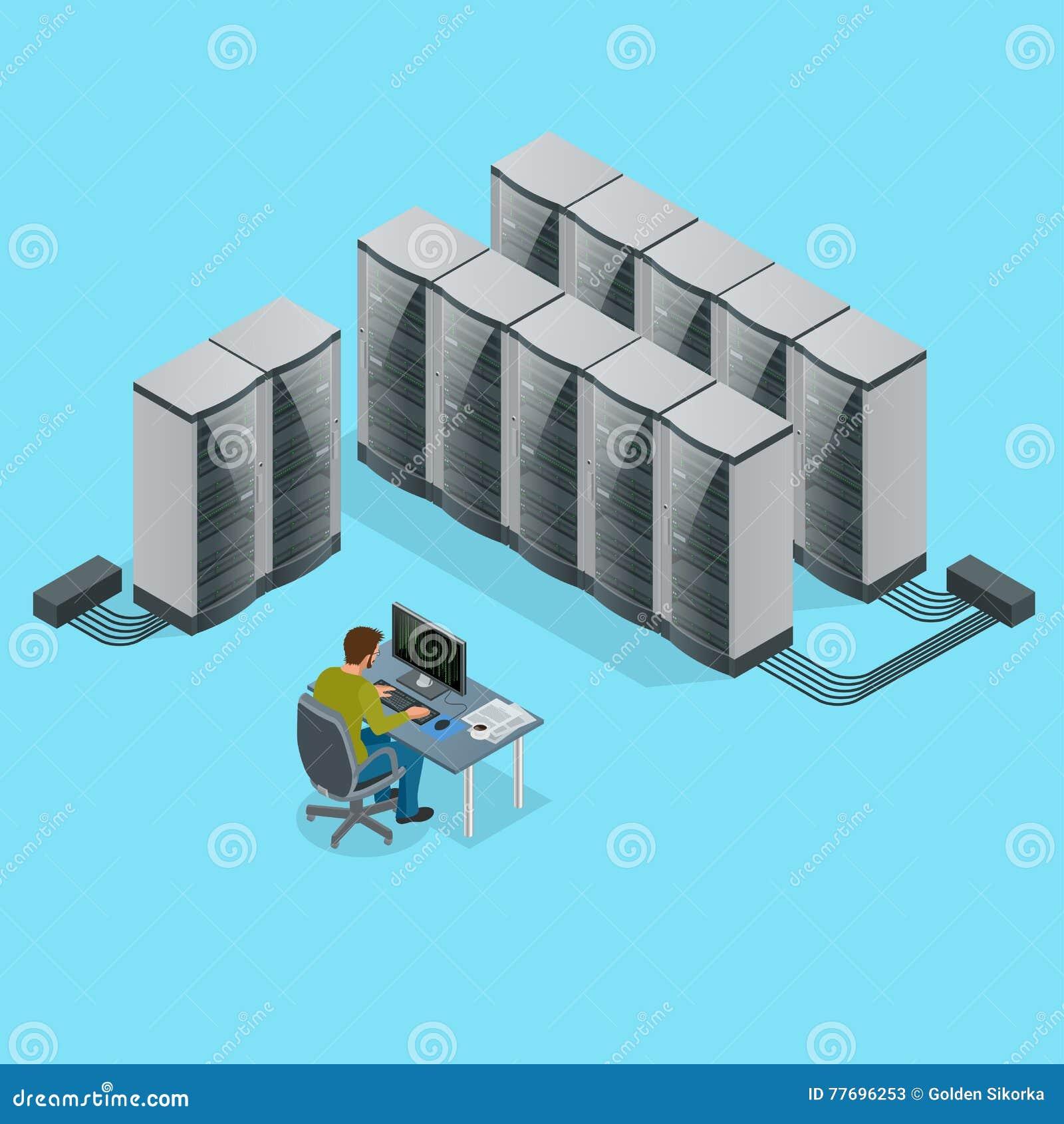 Isometrisk modern rengöringsduknätverk och internettelekommunikationteknologi, stor datalagring och beräknande dator för moln