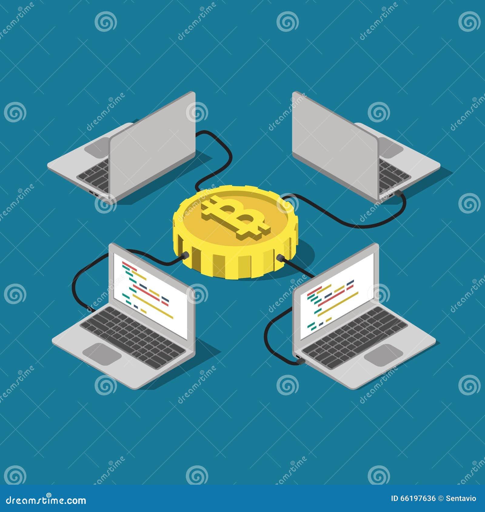 Isometrisk online-bryta plan vektor för Bitcoin nätverksanslutning