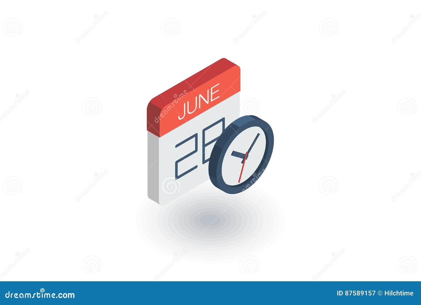 Isometrisk plan symbol för datum och för tid, för kalender och för klocka vektor 3d