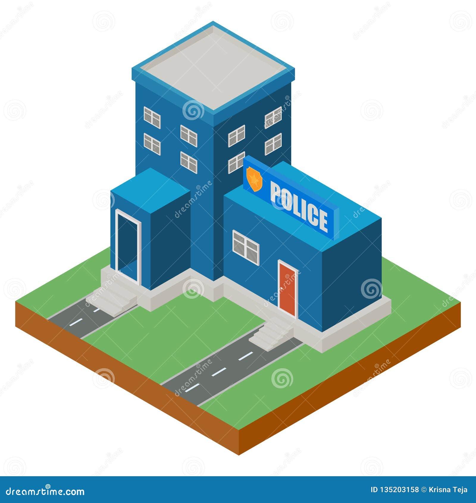 Isometrisk polisstationbyggnadsyttersida