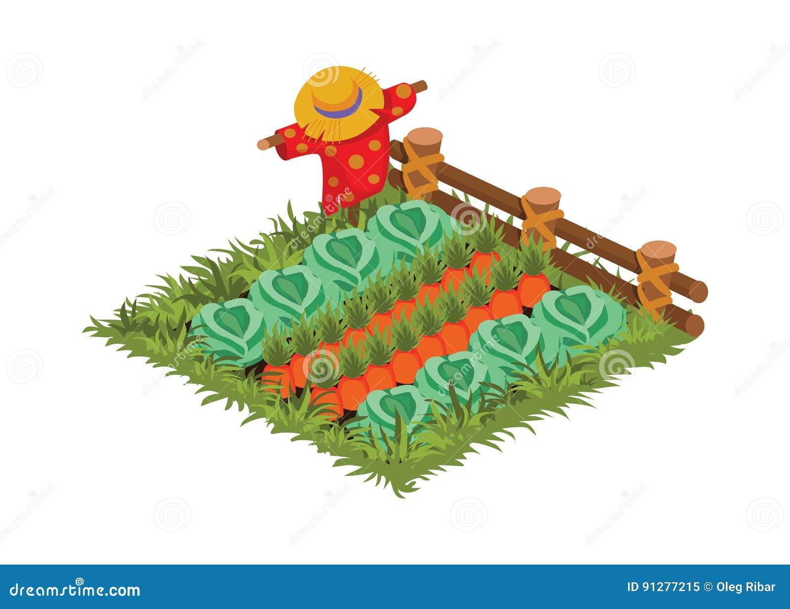 Isometrisk säng för tecknad filmgrönsakträdgård med fågelskrämman som planteras med kål och moroten