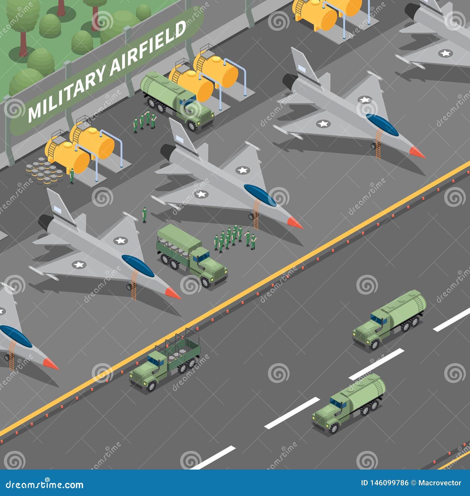 Isometrisk sammansättning för militärt flygfält
