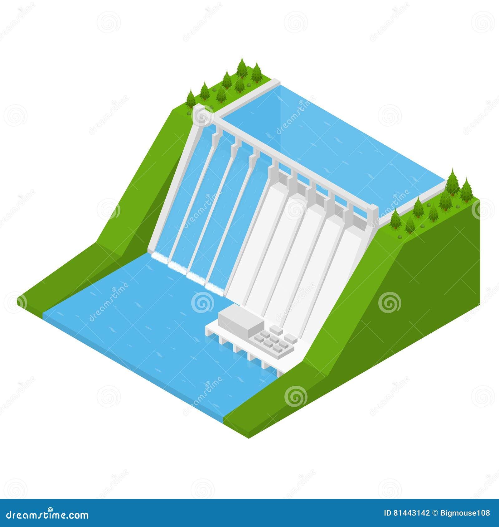 Isometrisk sikt för Hydroelectricitykraftverk vektor