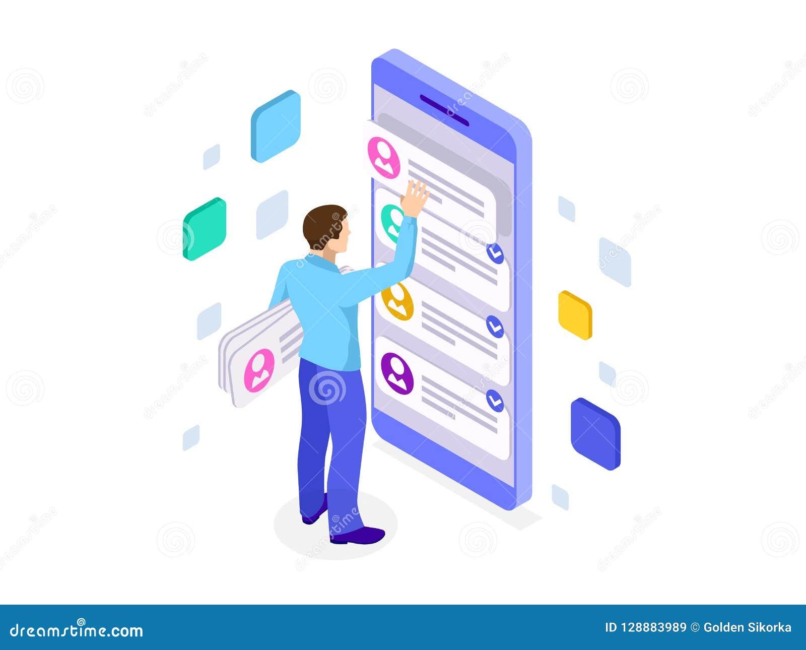 Isometrisk smartphone för för uxapp-utveckling och innehav Användareerfarenhet Websitedesign och utveckling