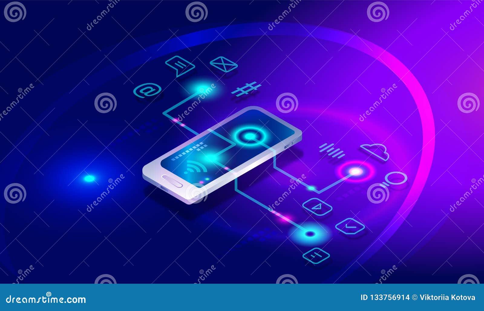 Isometrisk smartphone med olika applikationer, apps, on-line service, programvara Isometrisk smartphone, mobiltelefon, bankrörels