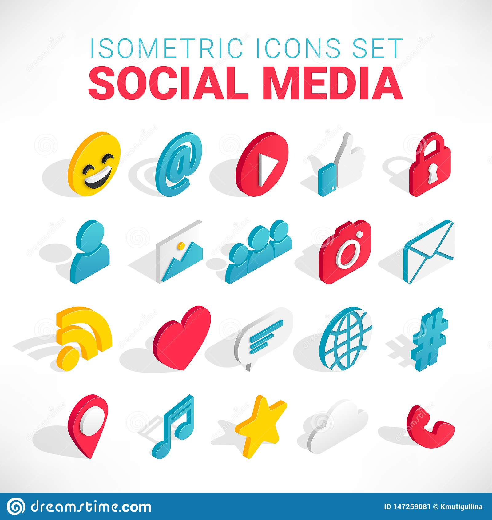Isometrisk social massmediasymbolsuppsättning