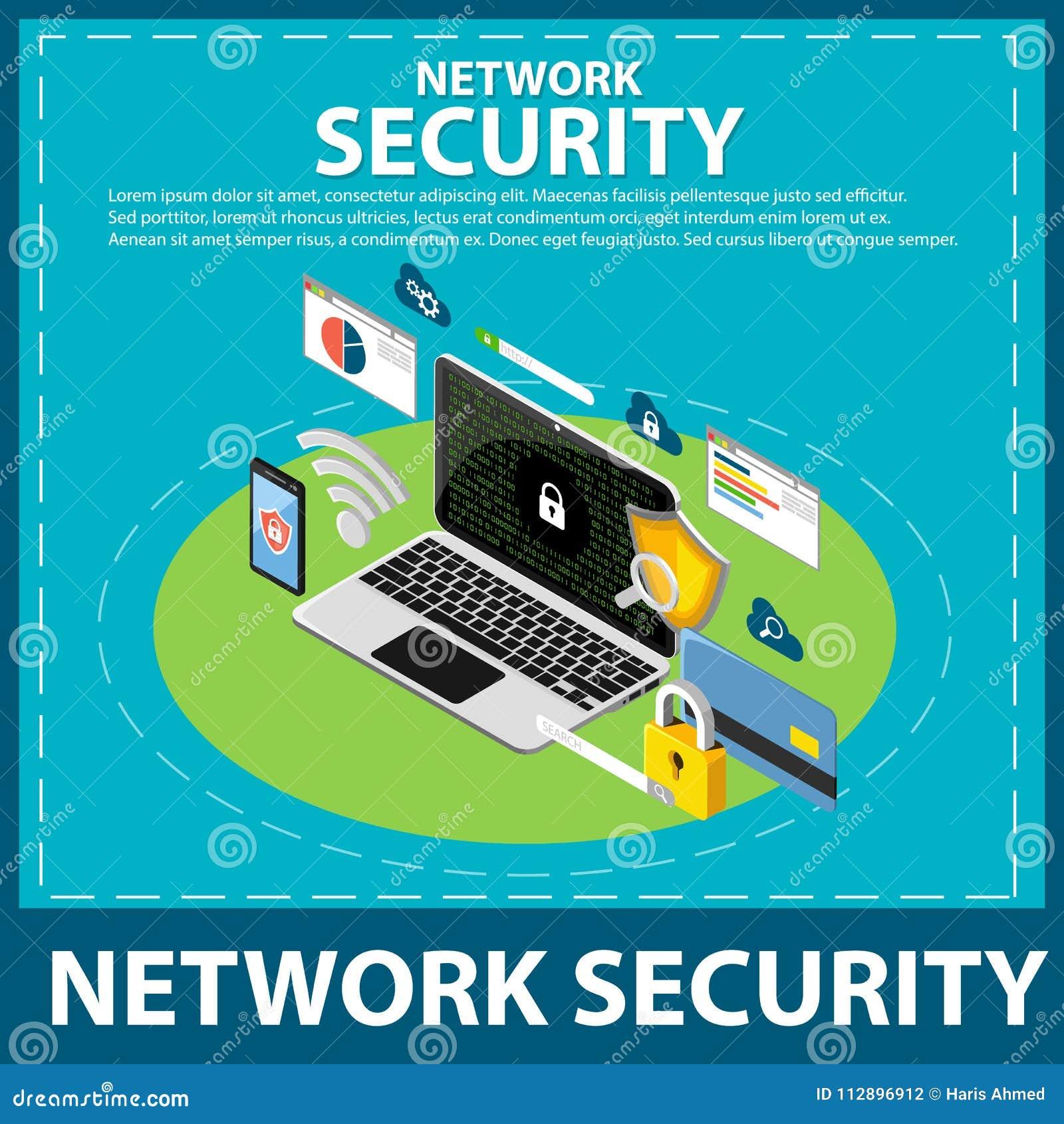 Isometrisk symbol för internet- och nätverkssäkerhet