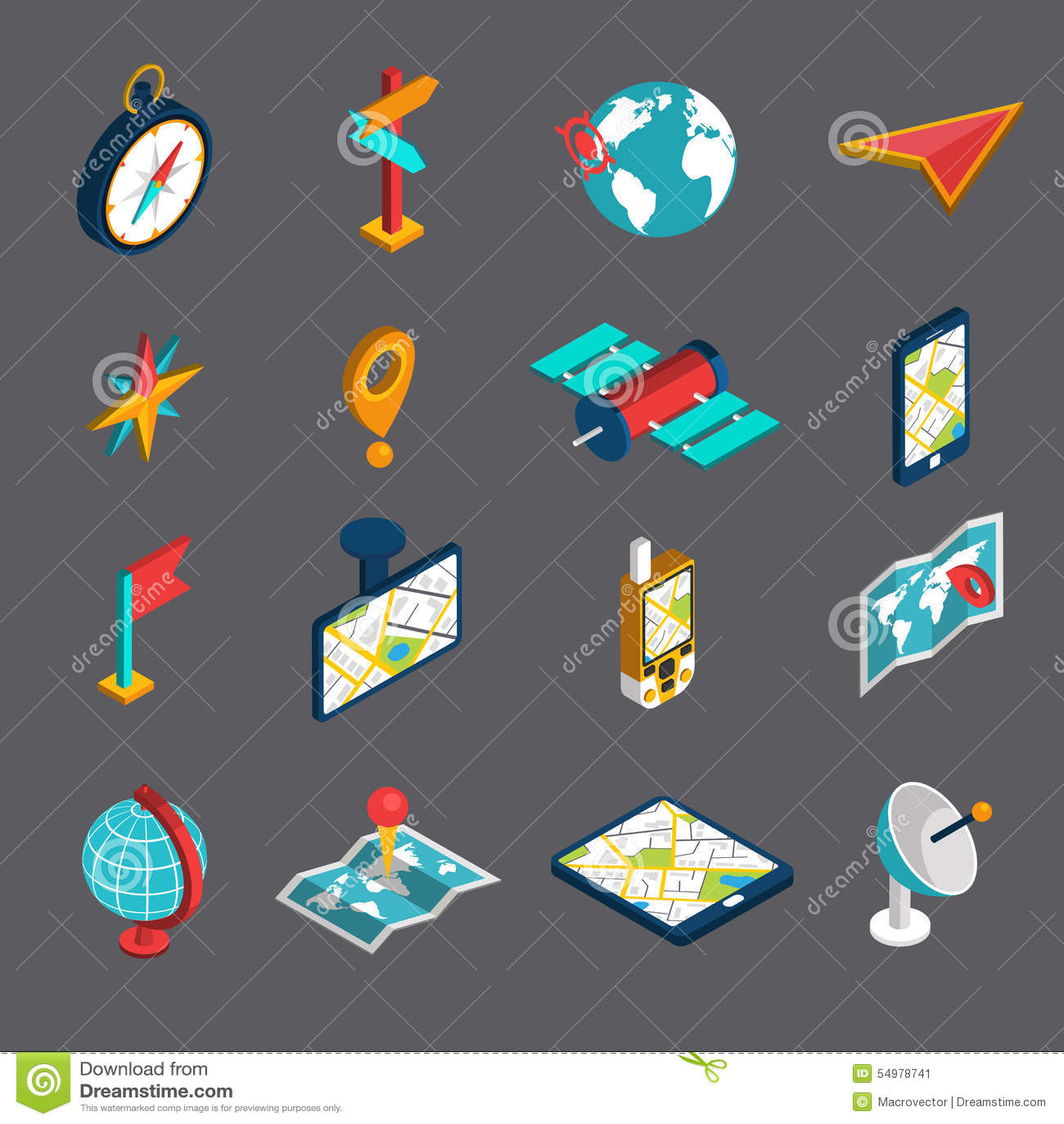 Isometrisk symbolsuppsättning för navigering