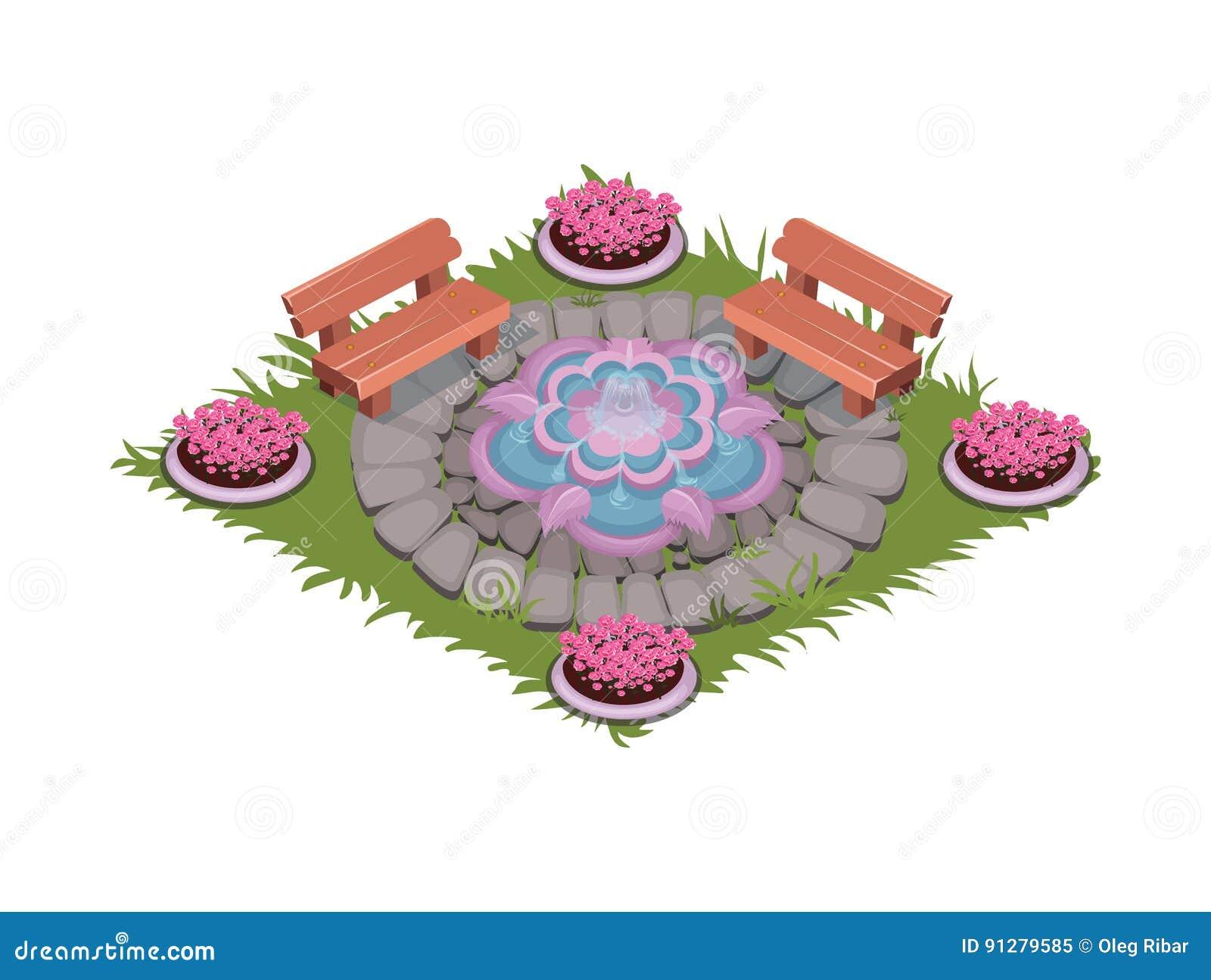 Isometrisk tecknad film stenlagd fyrkantig uteplats med springbrunnen, bänkar och blomsterrabatter