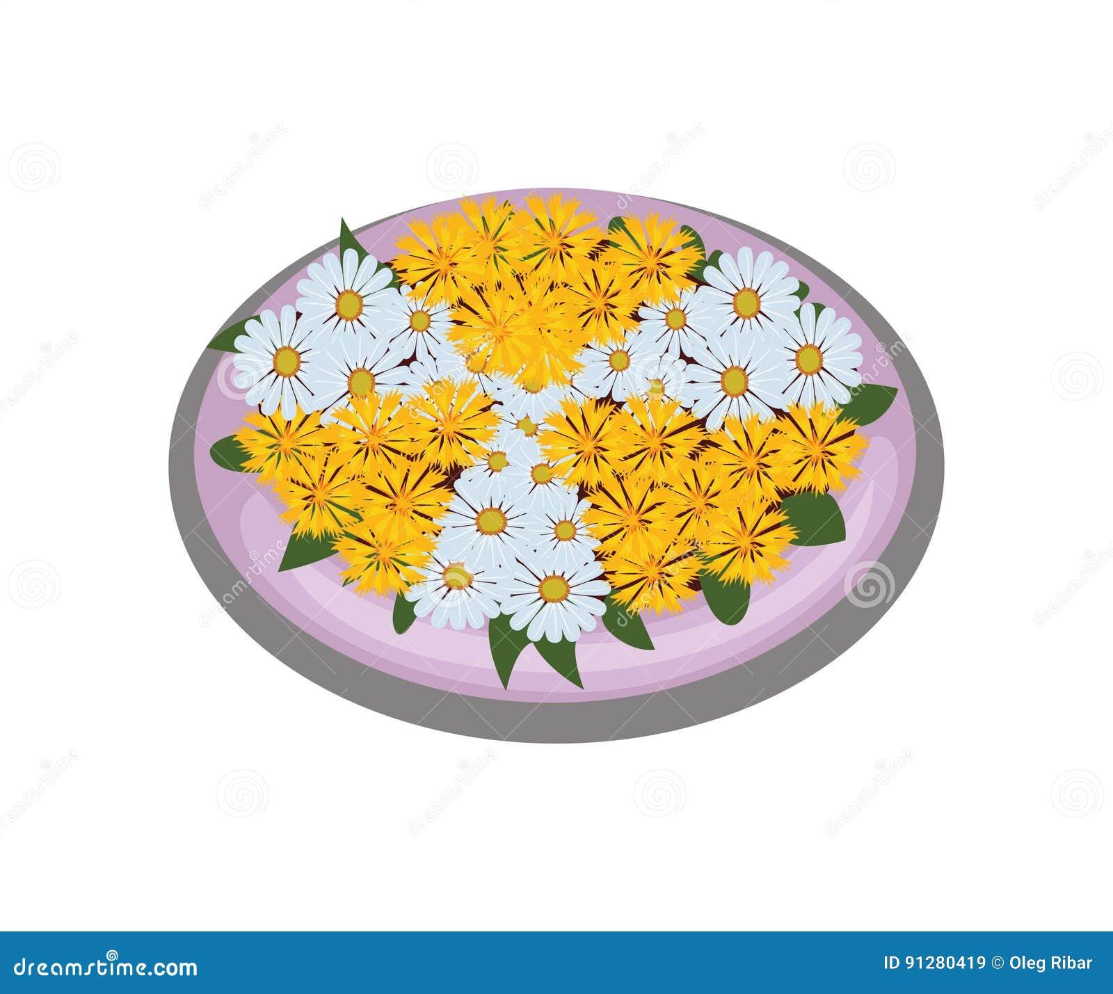 Isometrisk tecknad filmblommaBush säng med Symmetrically planterade vit- och gulingtusenskönor