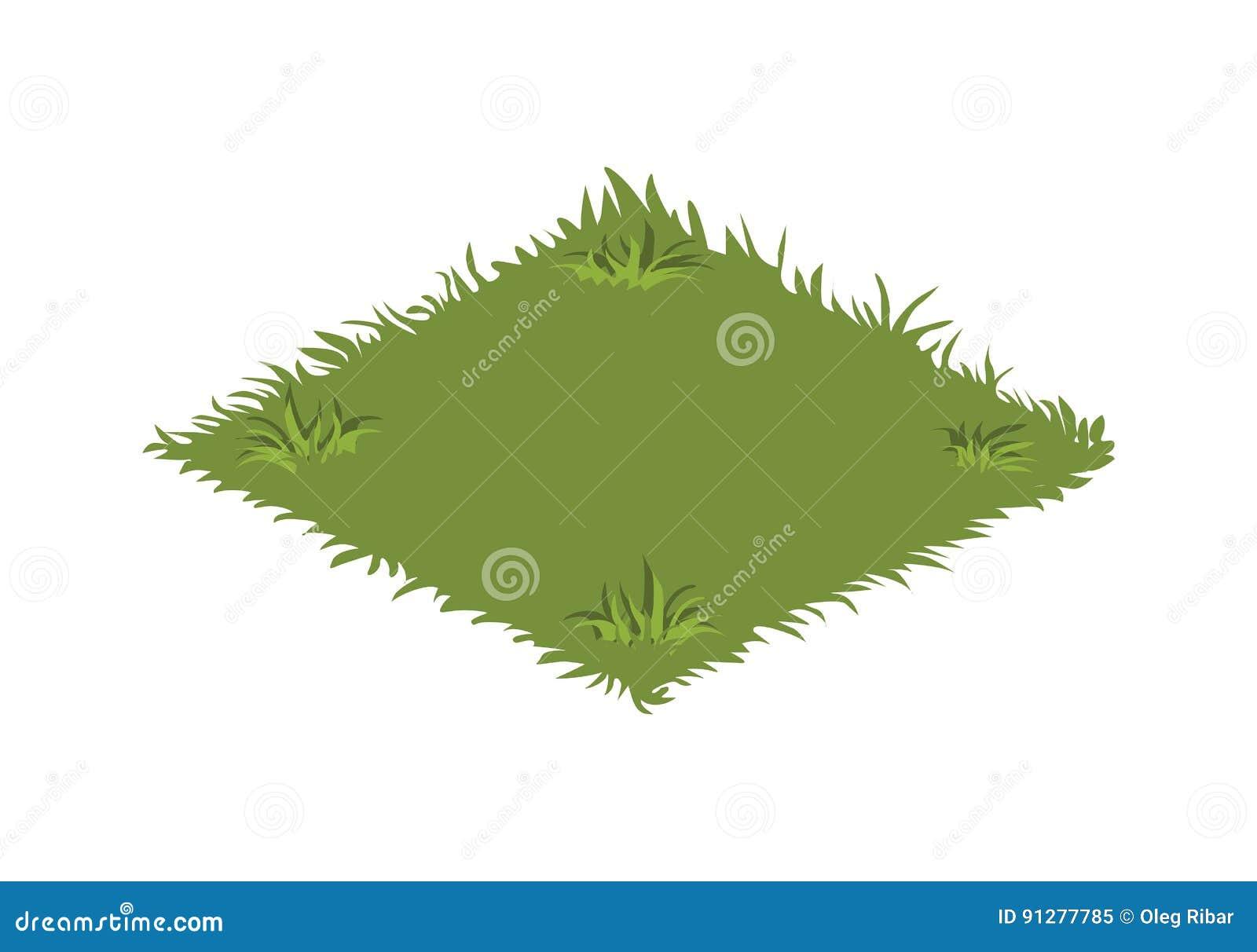 Isometrisk tecknad filmträdgårdgräsmatta med grönt gräs - beståndsdelar för den Tileset översikten eller landskapdesign