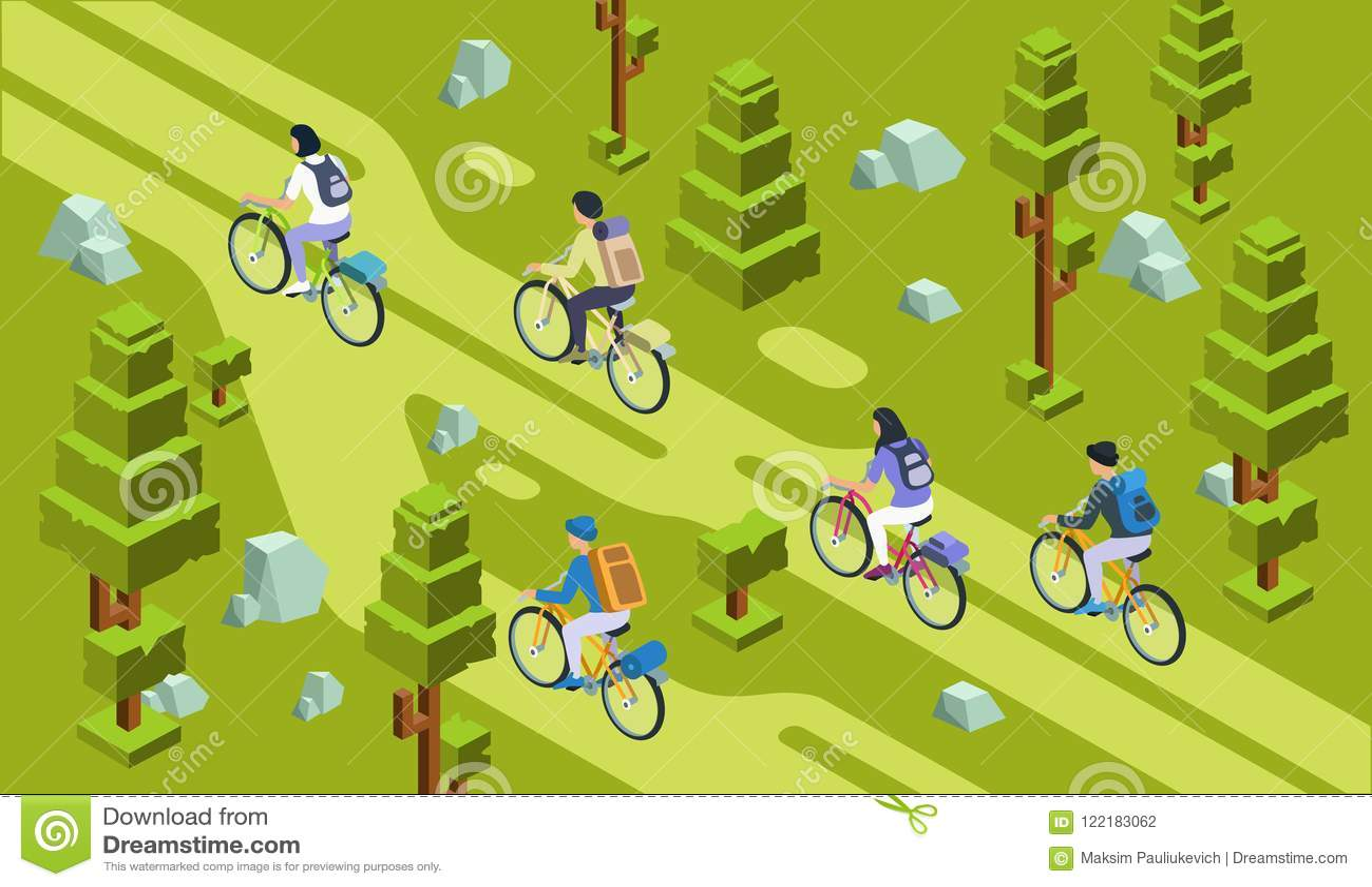 Isometrisk turistgrupp som cyklar skogen