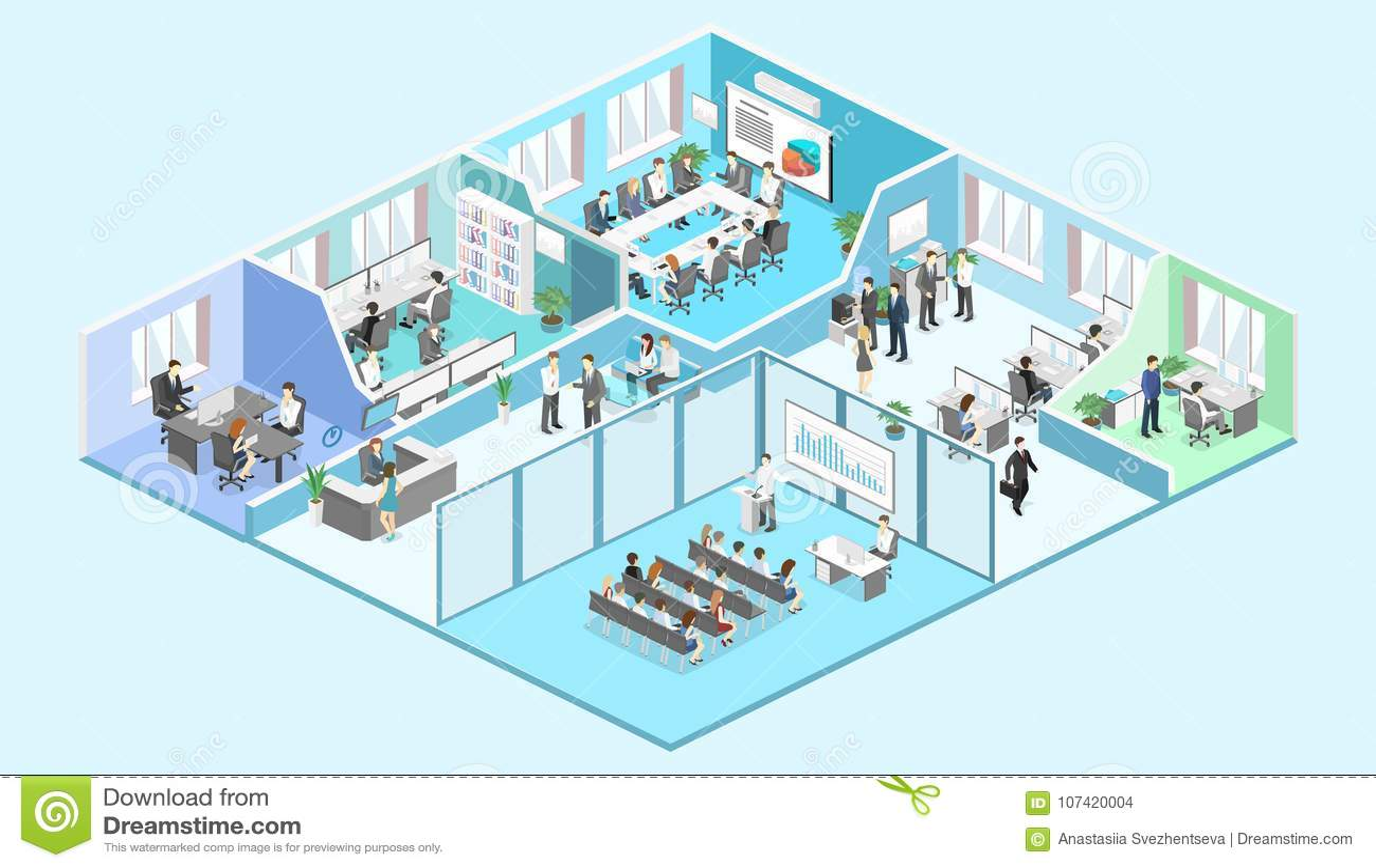 Isometrisk vektor för begrepp för inreavdelningar konferenskorridor, kontor, arbetsplatser