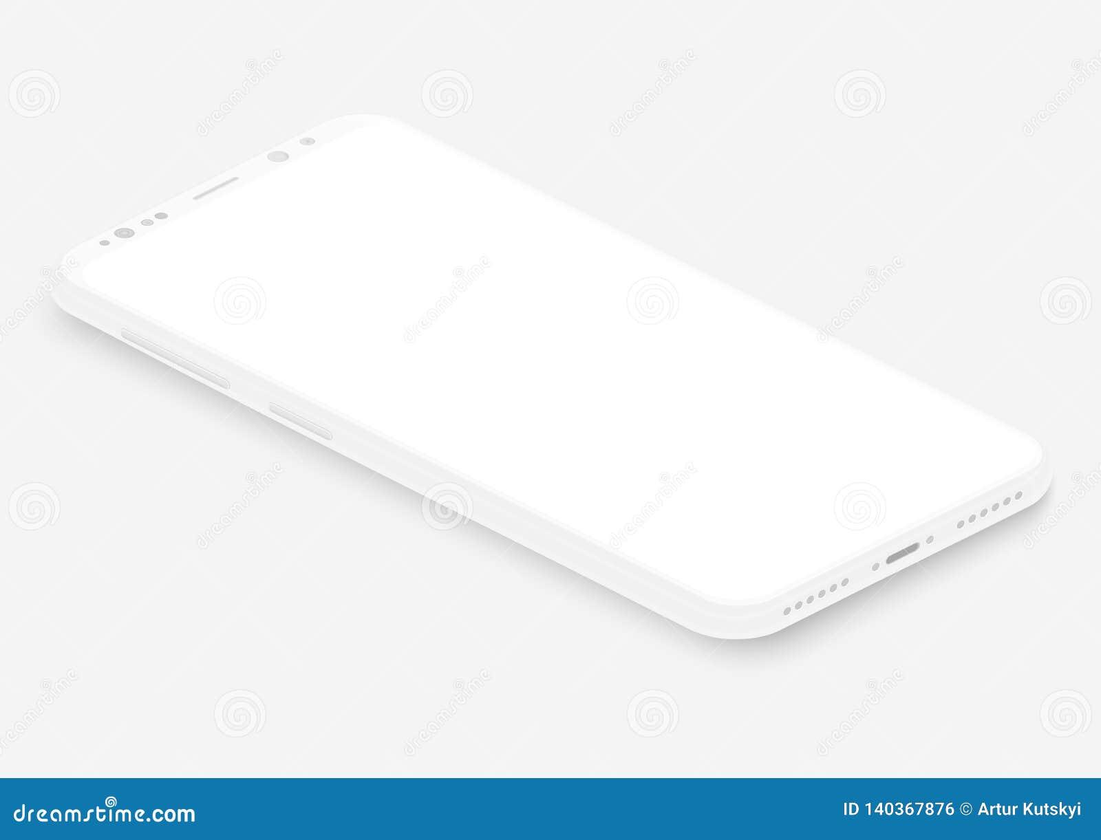 Isometrisk vit vektorsmartphone realistisk tom mall för telefon för skärm 3d för att sätta in någon UI-manöverenhet, prov eller