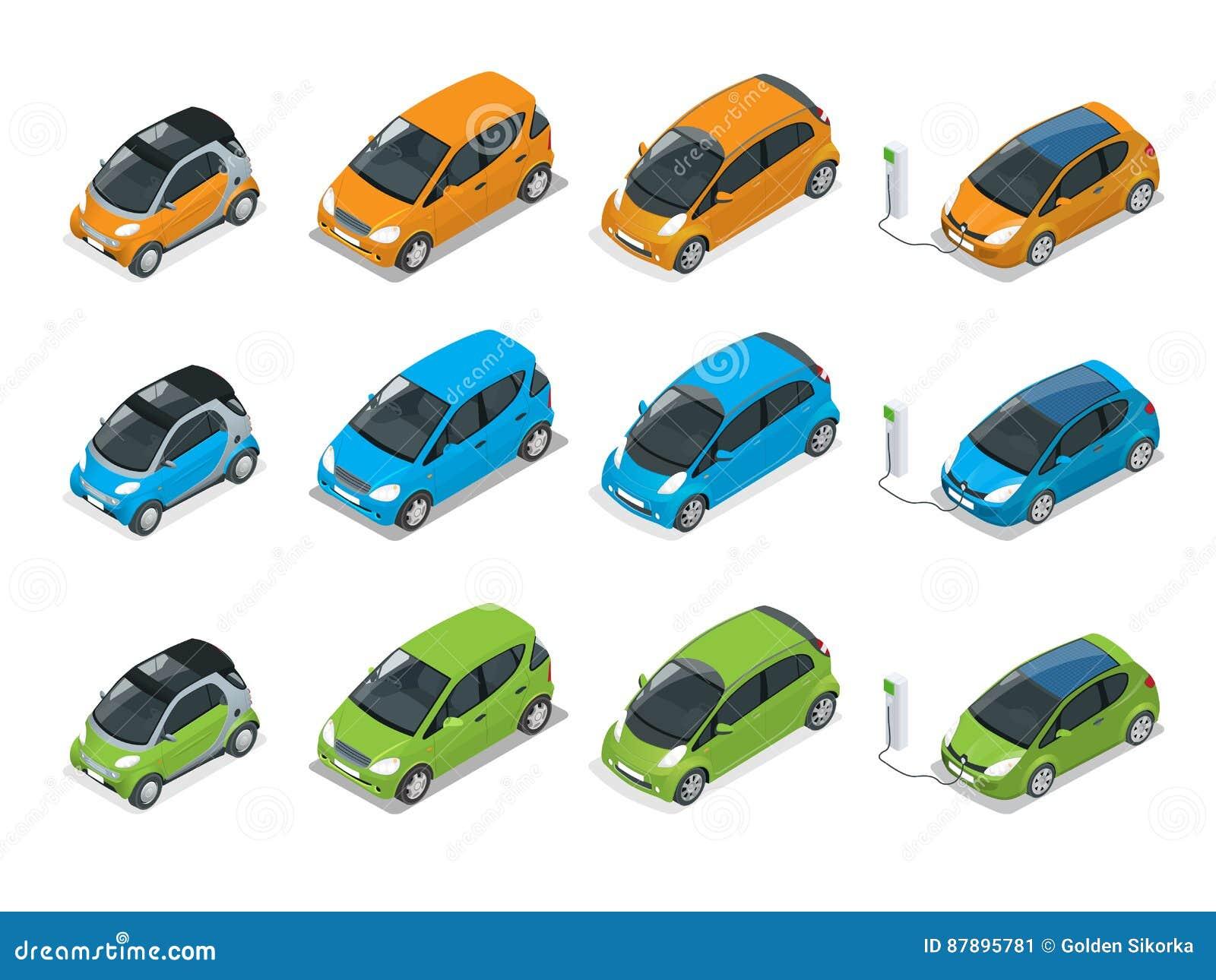 Isometriska bland, elkraft och Mini Cars Stadsbilar på vit bakgrund Smart bil för plan överenskommelse för vektor 3d