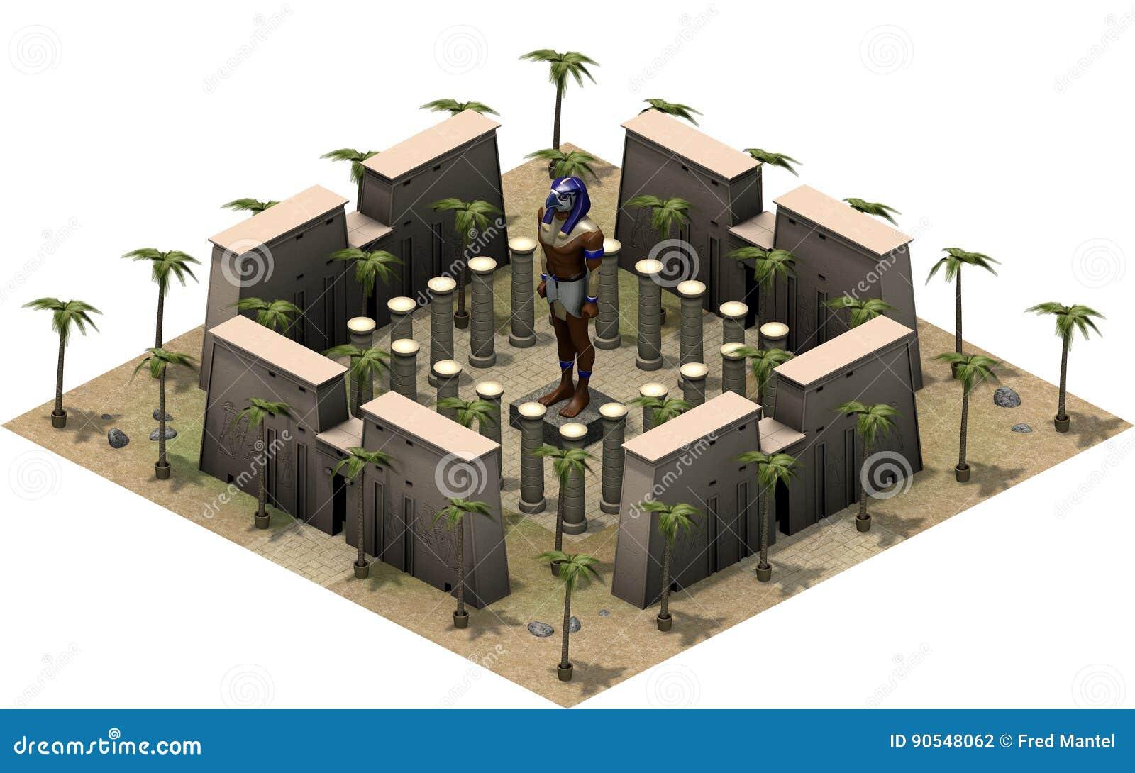 Isometriska byggnader av forntida Egypten, staty av guden Horus framförande 3d