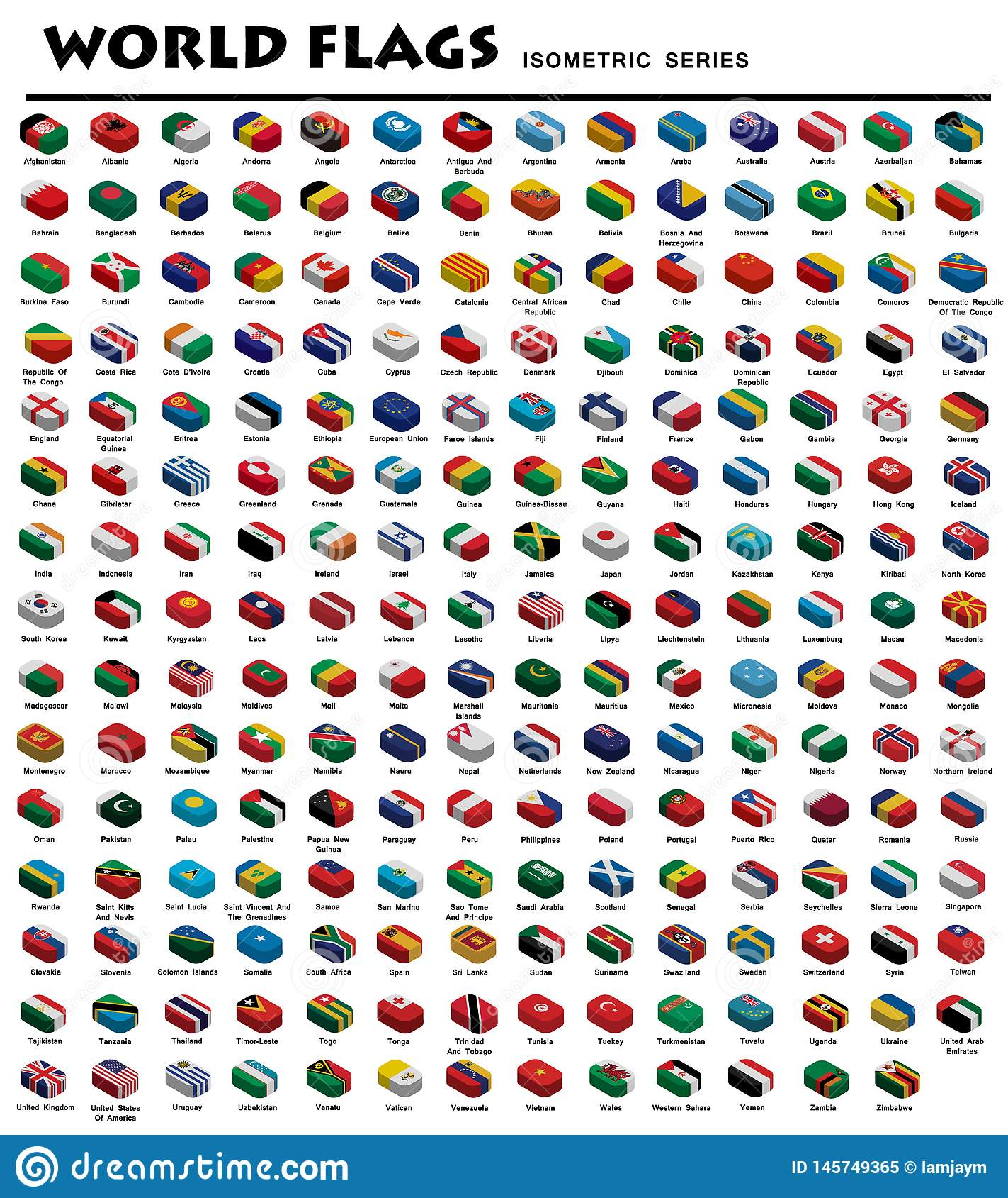 Isometriska flaggor av världen
