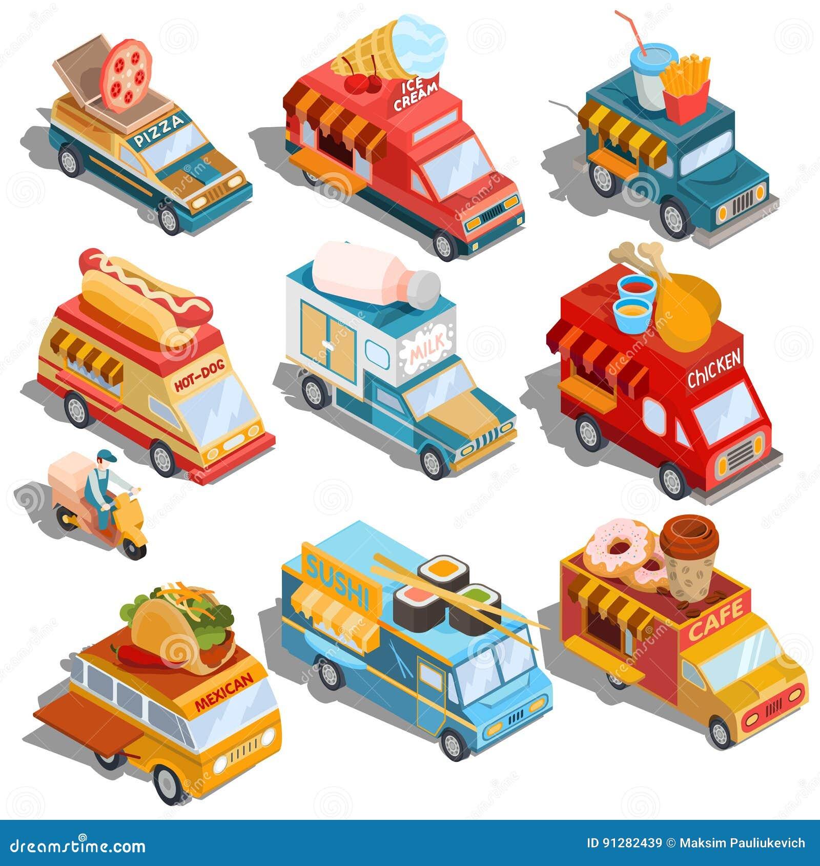 Isometriska illustrationer av bilar fastar leveransen av mat, och mat åker lastbil