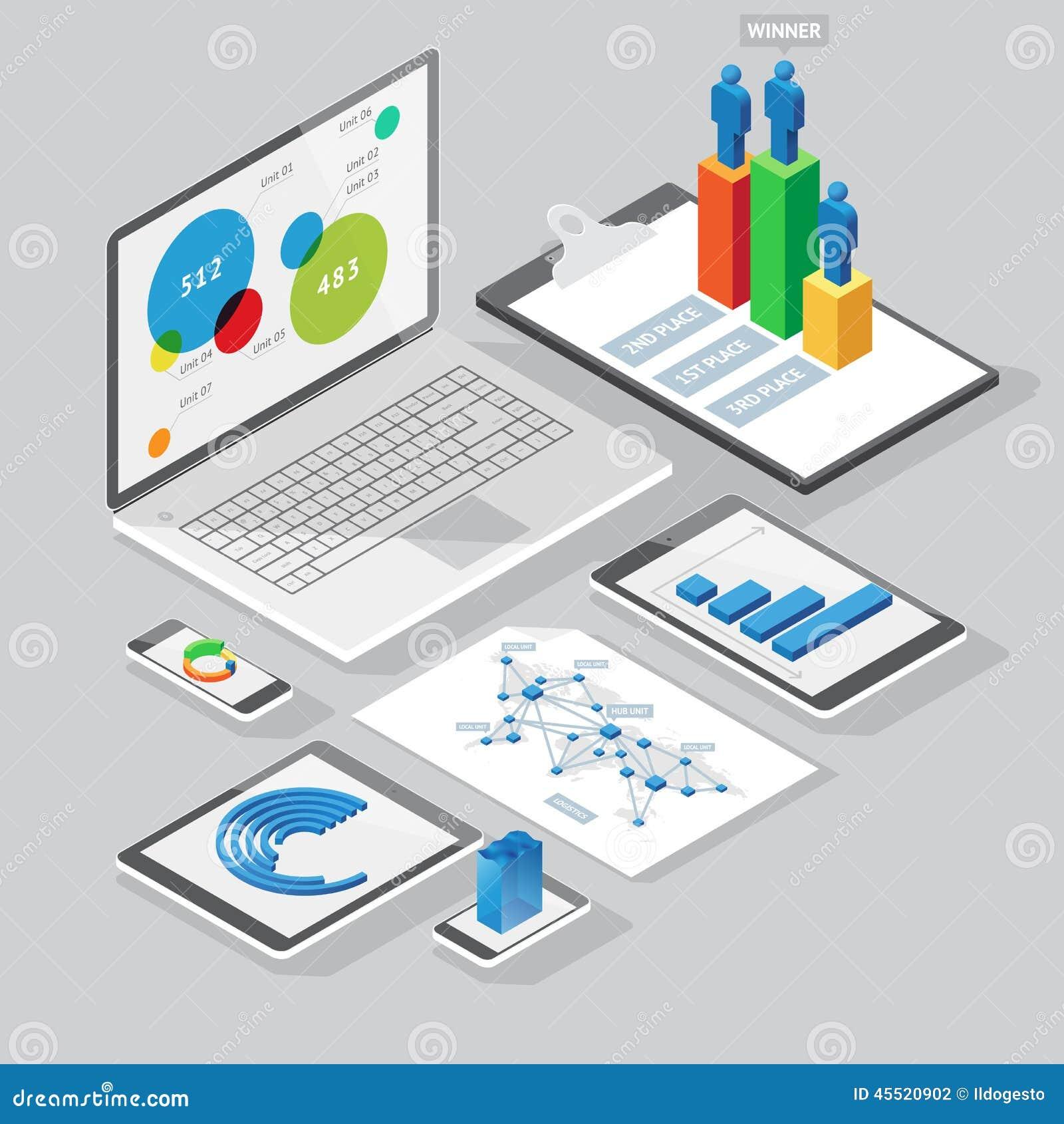 Isometriska infographicsdesignbeståndsdelar
