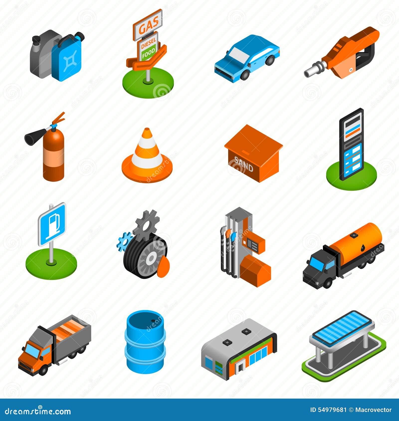 Isometriska symboler för bensinstationbeståndsdelar