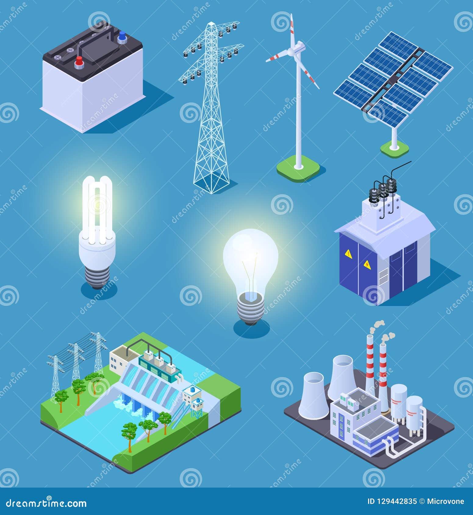 Isometriska symboler för elkraft Energigenerator, solpaneler och termisk kraftverk, vattenkraftstation elektriskt