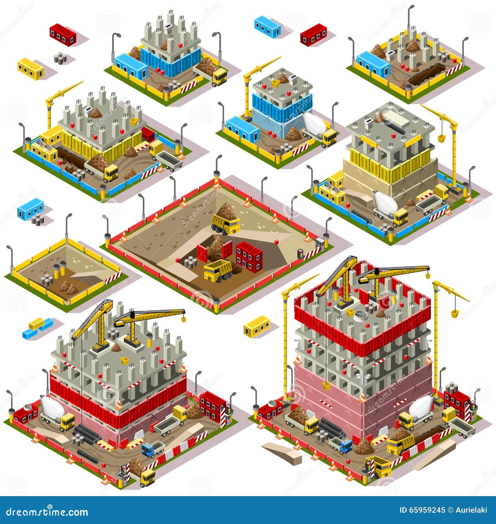 Isometriska tegelplattor för stadsöversiktsuppsättning 04