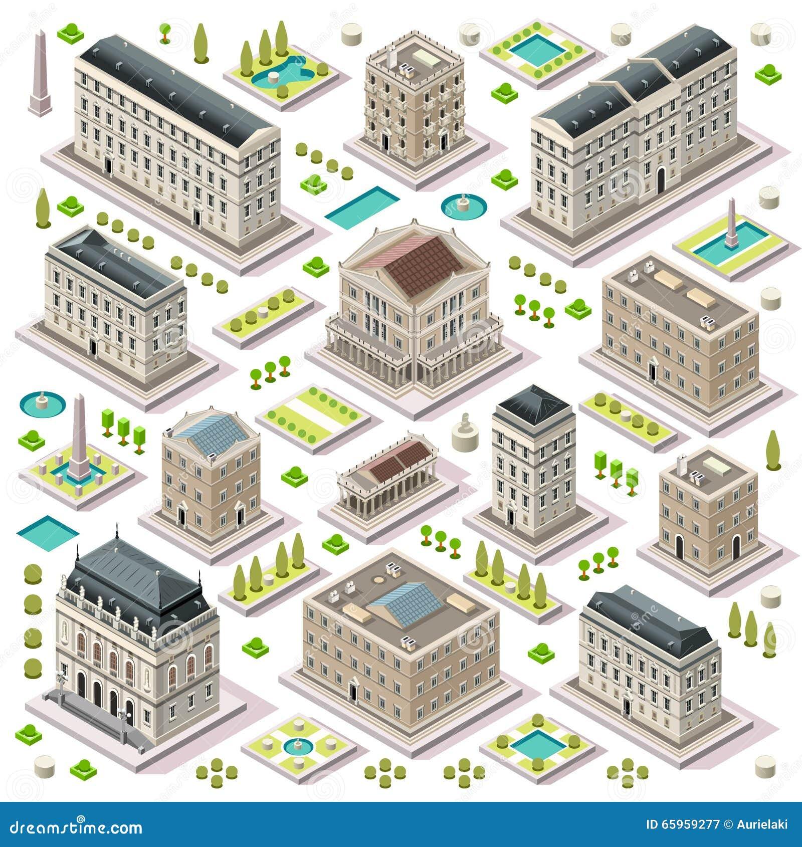 Isometriska tegelplattor för stadsöversiktsuppsättning 05