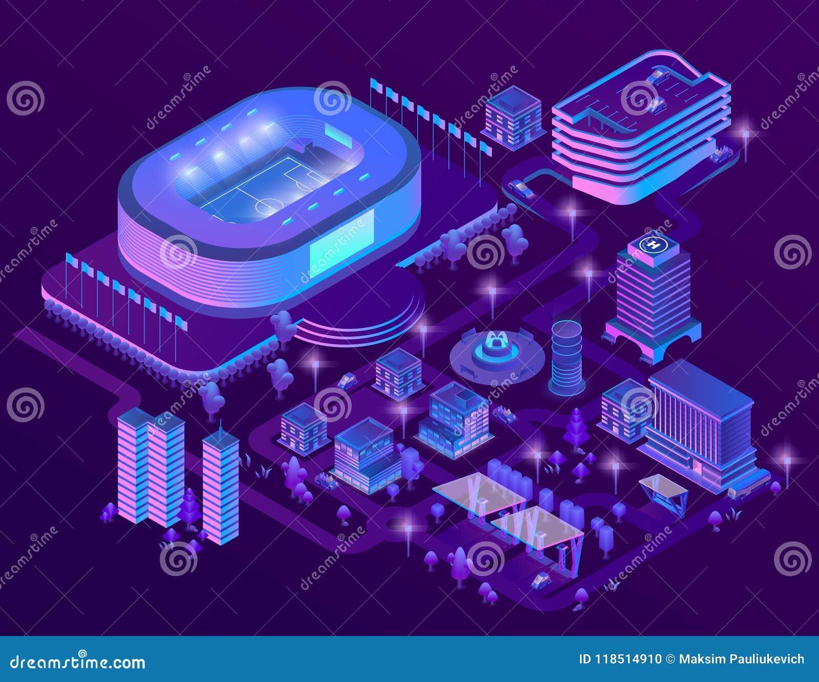Isometriska ultravioletta megapolis för vektor 3d med stadion