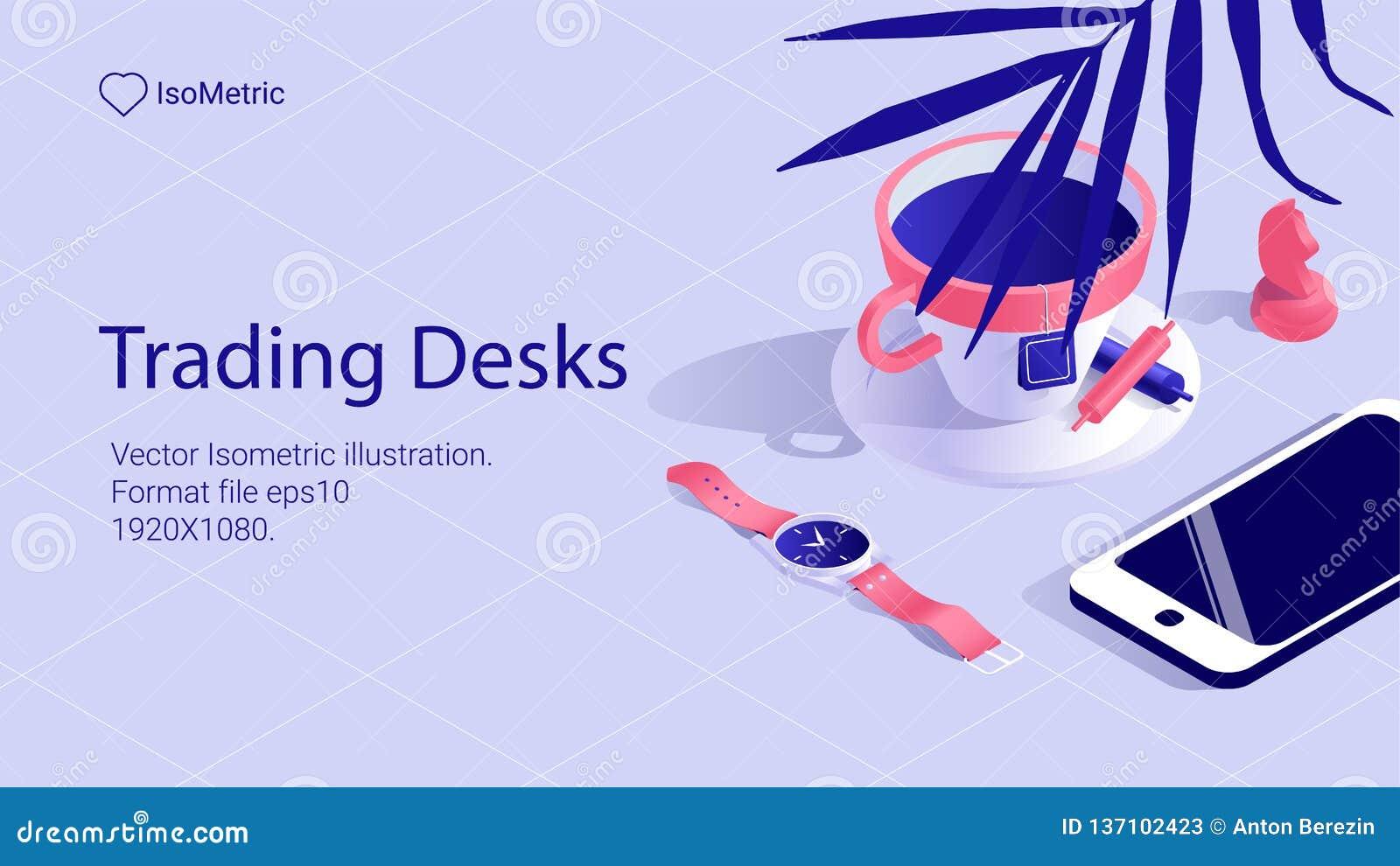 Isometriskt arbetsskrivbordbaner frilans- skrivbord