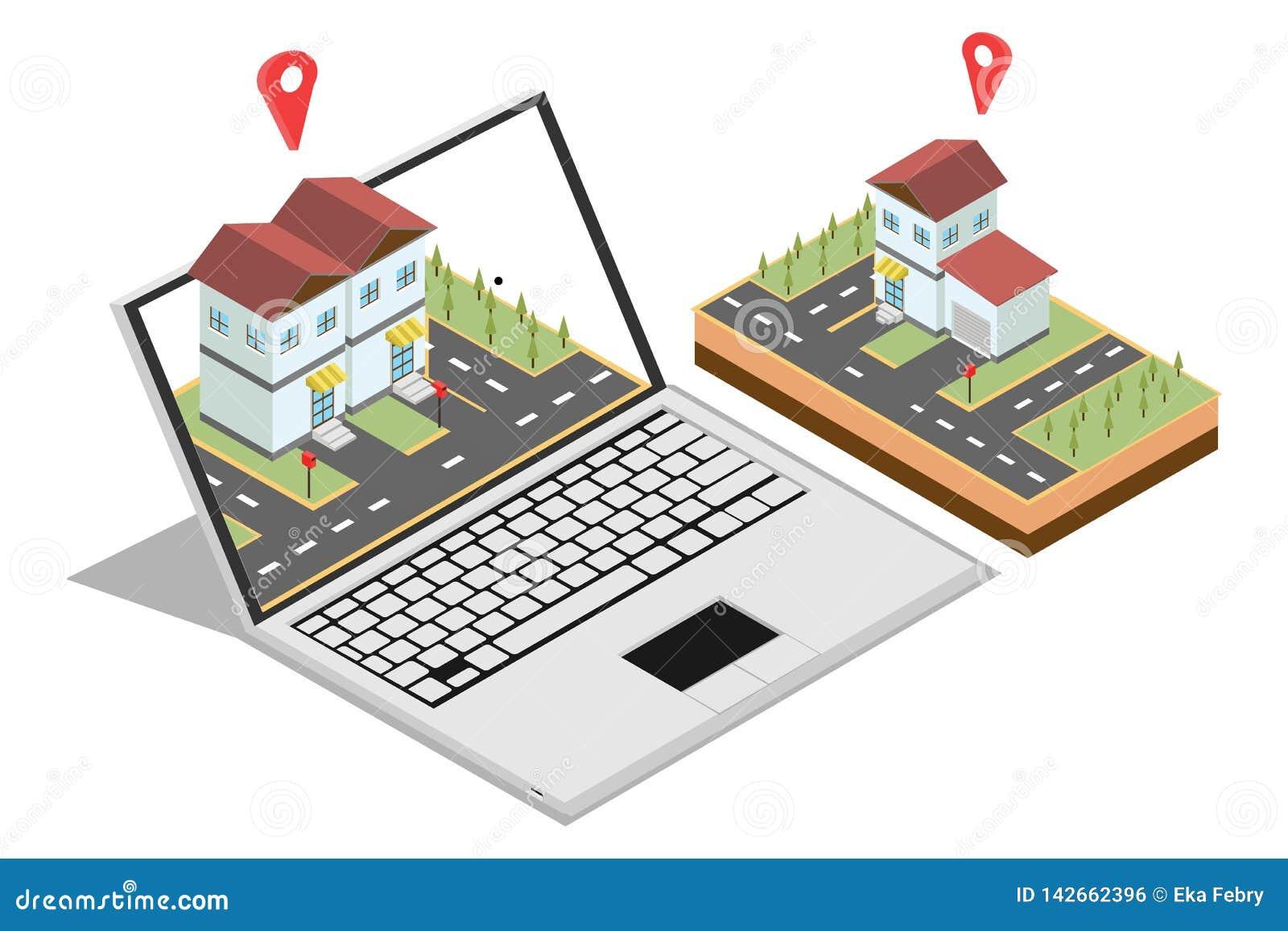 Isometriskt begrepp av att sälja en hem- online-marknadsföring för rengöringsdukbaner som isoleras i vit bakgrund, vektorillustra