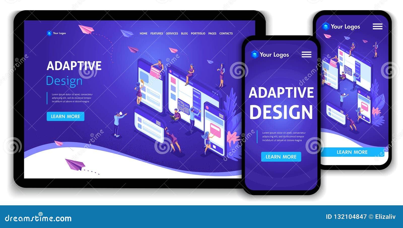 Isometriskt begrepp för malllandningsida av webbsidadesignen och utveckling av mobila websites, lämplig design, applikationer