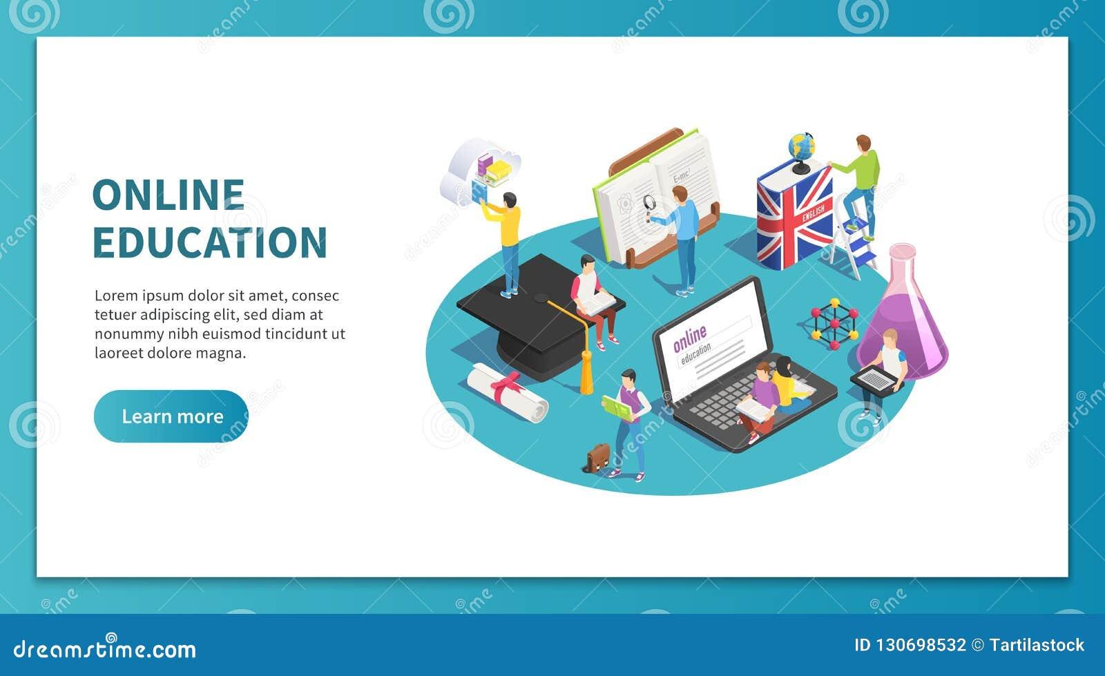 Isometriskt begrepp för online-utbildning Studera för internet och rengöringsdukkurs Lära studentwebsiten som landar sidavektorn