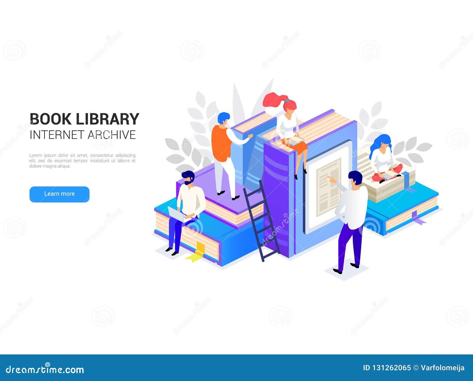 Isometriskt bokarkiv Internetarkivbegrepp och digitalt lära för rengöringsdukbaner Läsa för folk E-arkiv vektor