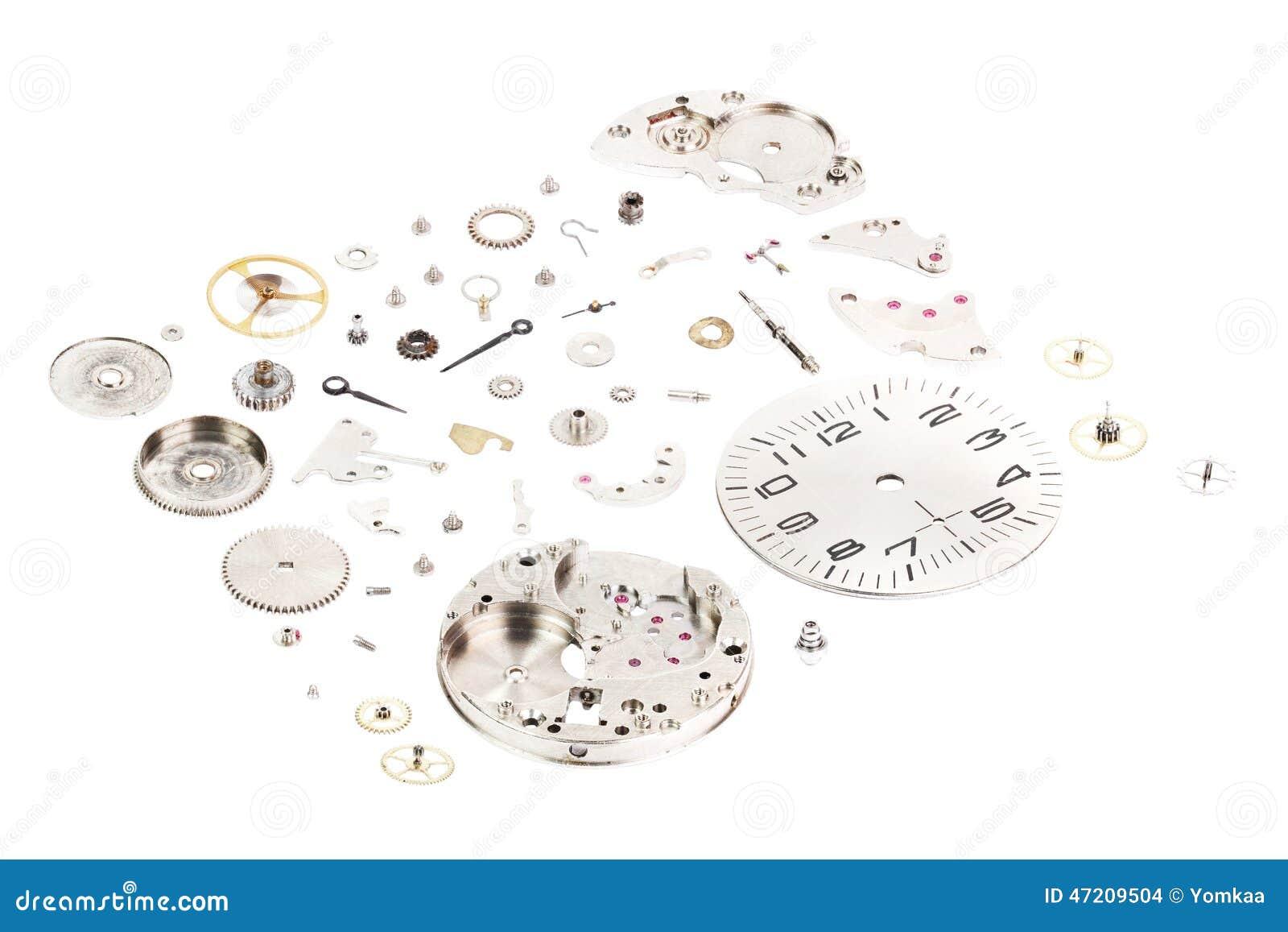 Isometriskt Demonterat gammalt mekaniskt armbandsur som isoleras på whithebakgrund
