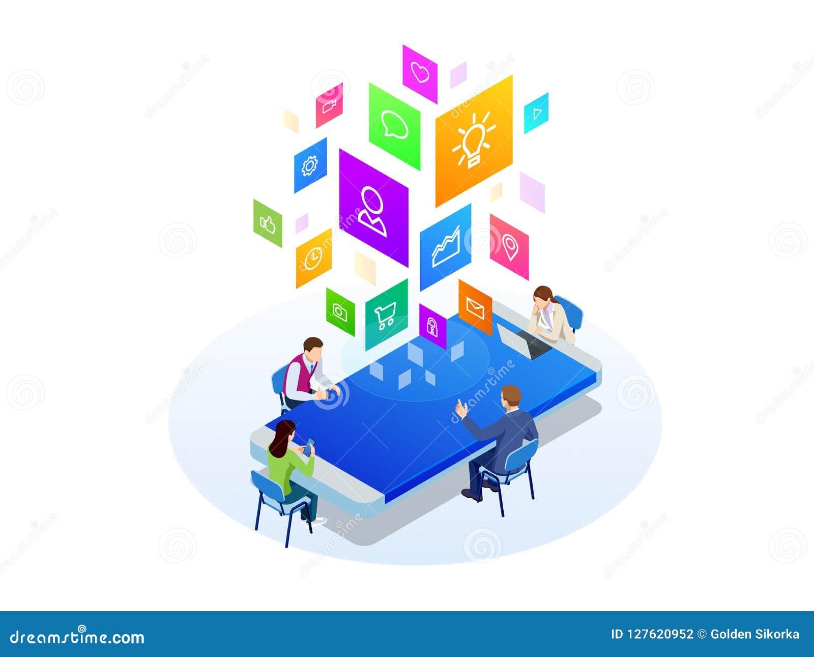 Isometriskt digitalt begrepp för marknadsföringsstrategi Online-affär, internetmarknadsföringsidé, kontor och finansobjekt