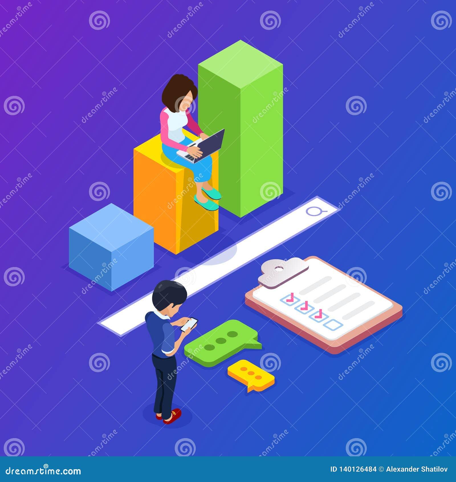 Isometriskt enginegbegrepp för sökande 3d Folket finner information genom att använda bärbara apparater Tillväxtgraf och sökandes