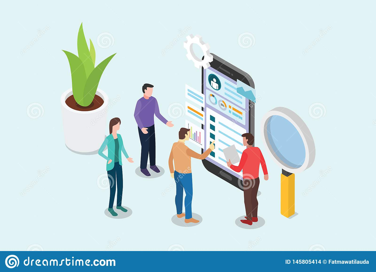 Isometriskt märkes- begrepp för ui och för ux med lagfolk som arbetar på smartphonen och designsidan - vektor