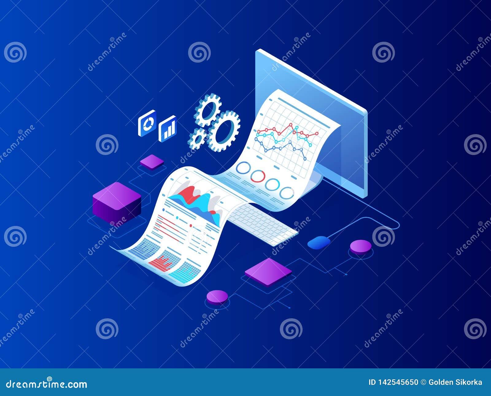 Isometriskt sakkunnigt lag för dataanalys, affärsstatistik, ledning som konsulterar, marknadsföring Landa sidamallen